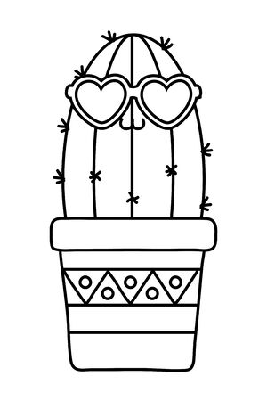 Cactus with heart sunglasses black and white