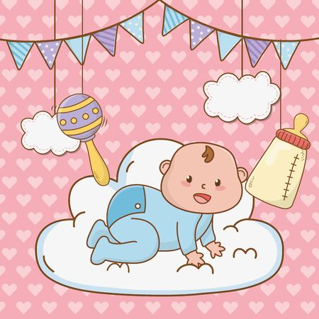 cute baby shower little baby with elements cartoon vector illustration graphic design Vectores