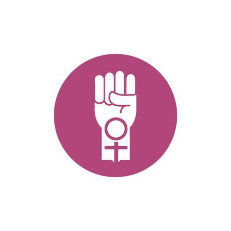 hand fist female gender sign breast cancer awareness block icon vector illustration Ilustração