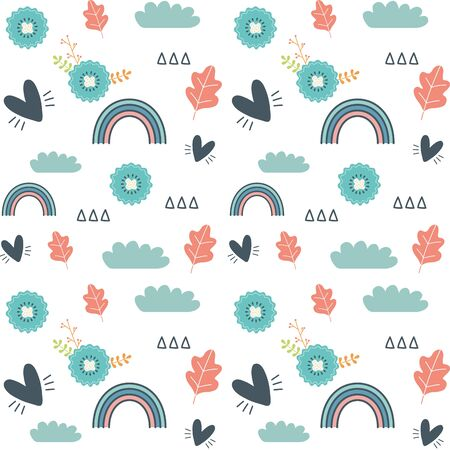 Rainbow background design, Weather climate time report meteorology sky and nature theme Vector illustration Çizim