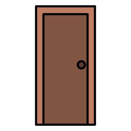 wooden door closed isolated icon vector illustration design Illustration