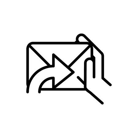 hand with mail postal delivery icon vector illustration thick line