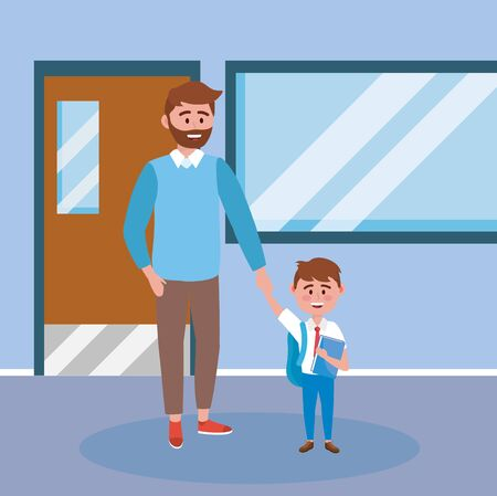 father with his boy student with book and backpack to back to school vector illustration Vetores
