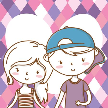Romantic love couple cute portrait background Vectores