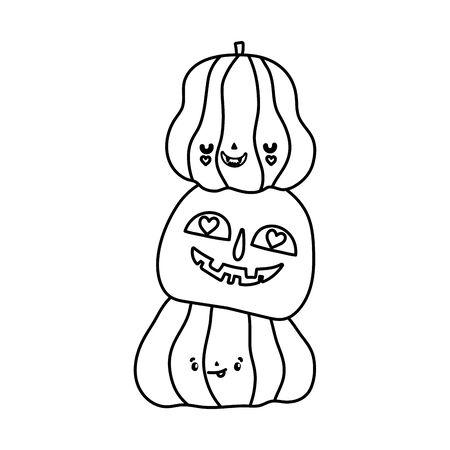 happy halloween celebration pile scary pumpkins line style
