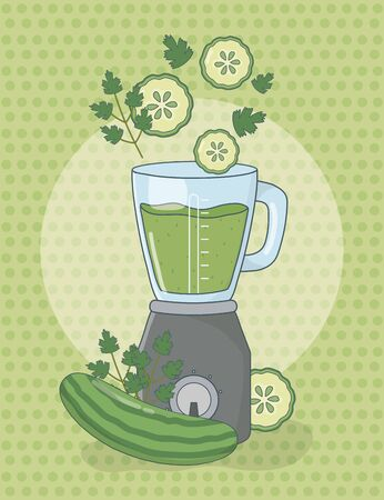 blender with cucumbers healthy preparation vector illustration design