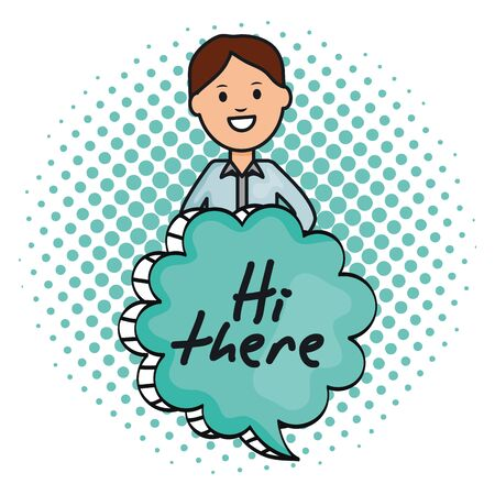 young man and speech bubble with hi there message vector illustration design