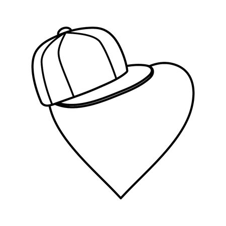 sport cap youth accessory with heart vector illustration design