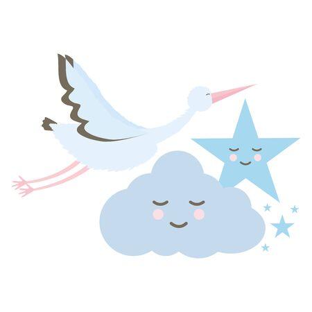 oiseau cigogne volant avec des personnages kawaii nuage et étoile