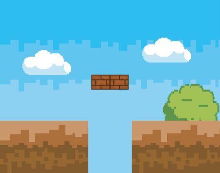 Arcade game world and pixel scene design  vector illustration