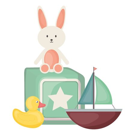 stuffed bunny and sailboat with block square frame and birthday elements vector illustration Archivio Fotografico - 132769204
