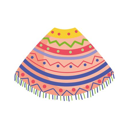 colored poncho clothes traditional mexico icon Illustration
