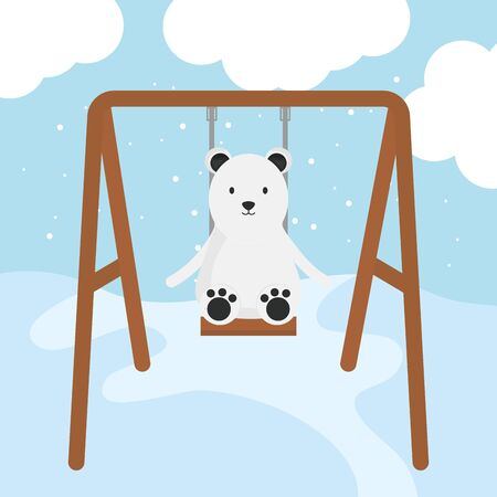 cute polar bear in swing childish character