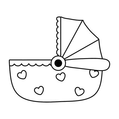 Wiege-Symbol-Cartoon in Schwarz und Weiß Vektorgrafik