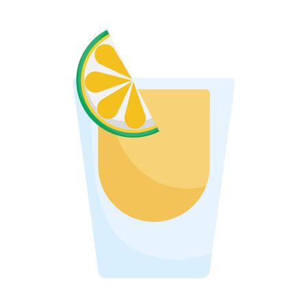 glass of tequila and lemon slice mexico icon