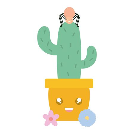 cactu in ceramic pot and spider kawaii style