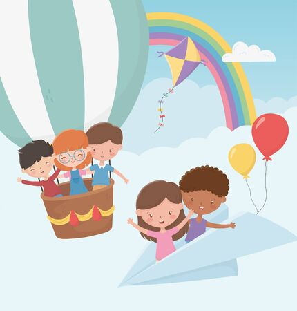happy childrens day, kids flying with paper plane and hot air balloon Illustration