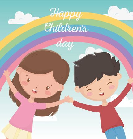 happy childrens day boy and girl smiling rainbow sky