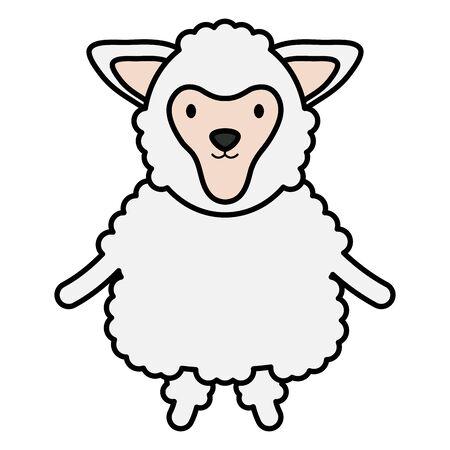 cute sheep childish character vector illustration design