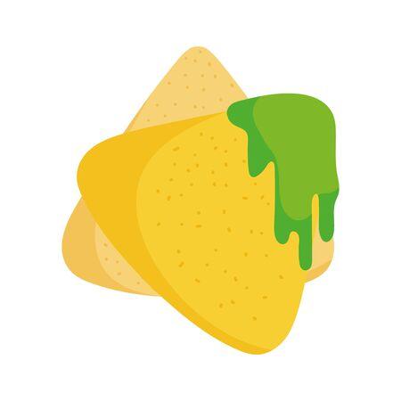 nachos with guacamole food tradition mexico icon
