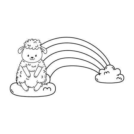 cute sheep in the clouds with rainbow vector illustration design Illustration