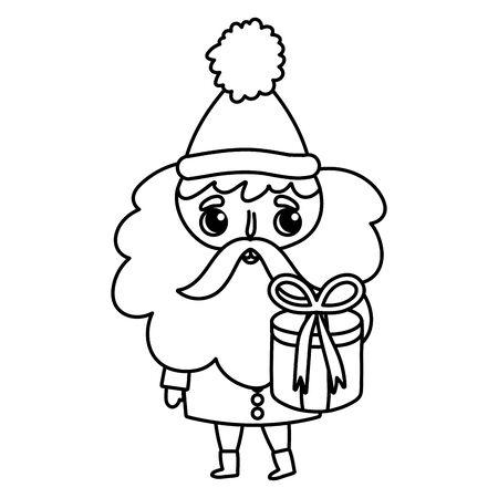 santa claus holding gift box merry christmas thick line Ilustração