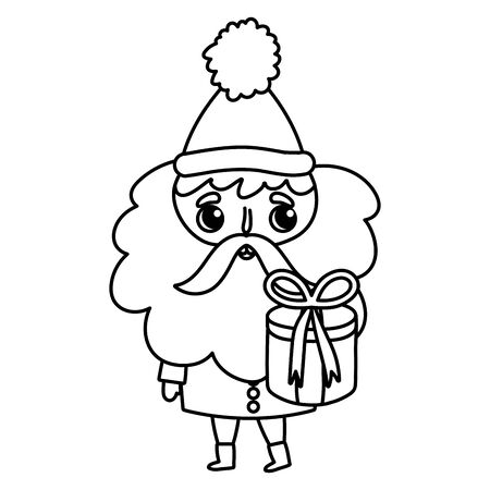 santa claus holding gift box merry christmas thick line Illustration