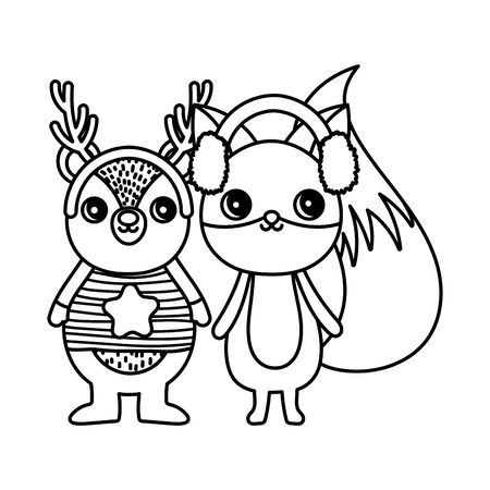 cute deer and fox with ear muffs merry christmas thick line Ilustracja