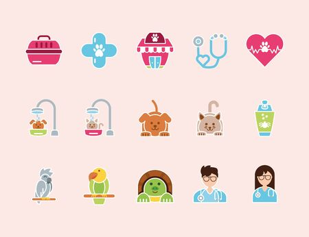 pet shop grooming vet care icons set vector illustration Stock Illustratie