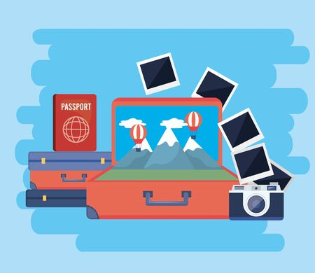 travel baggages with passport and camera with pictures