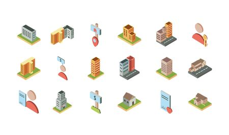 isometric buildings real estate location icons set Standard-Bild - 132944983