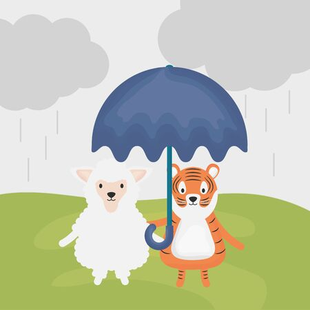 cute sheep and tiger with umbrella