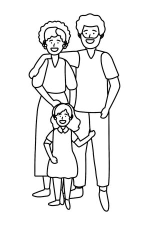 couple with child black and white Иллюстрация
