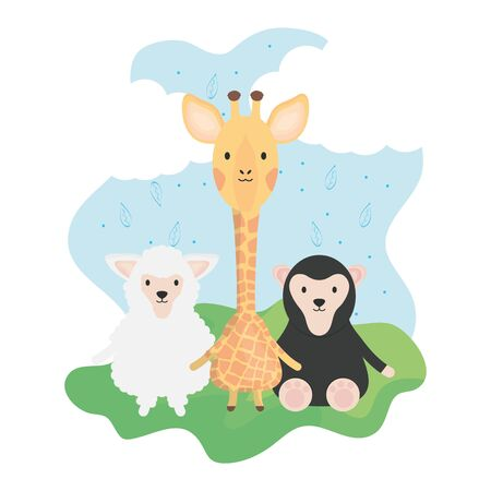 cute group animals childish characters vector illustration design Stock Vector - 132908934
