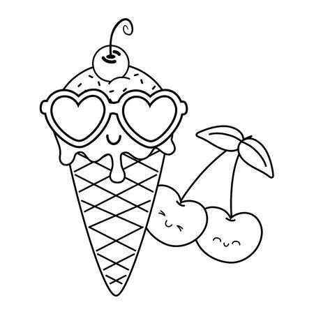 ice cream cherries and sunglasses icon cartoon black and white vector illustration graphic design Stock Vector - 133249433
