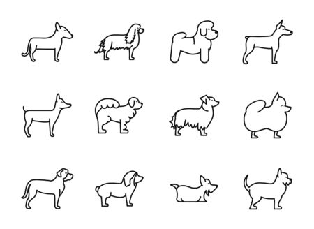 set of dogs breed standing icons linear style vector illustration