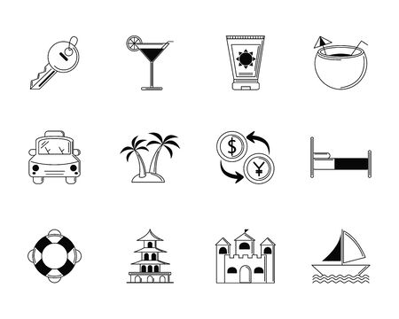 tourism vacations travel icon set thin line vector illustration