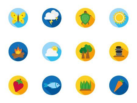 four season weather related block icons set vector illustration  イラスト・ベクター素材