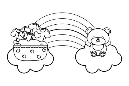 baby elements icons toy bear, cradle, baby clothes, bow over clouds and rainbow vector illustration graphic design