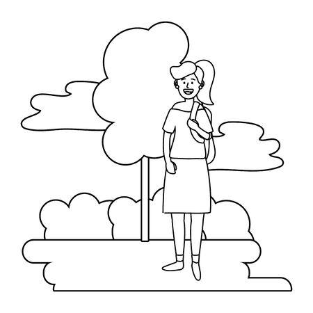 young happy woman at nature park cartoon vector illustration graphic design Illusztráció