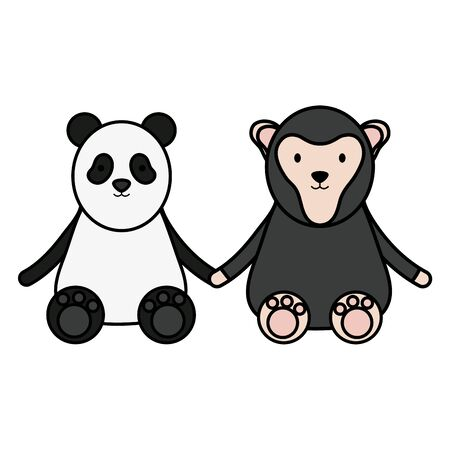 cute bear panda and monkey characters