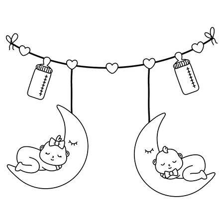 baby sleeping on the moon hanging from clothesline rope with feeding bottle vector illustration graphic design