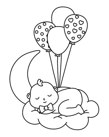 baby sleeping over a cloud in black and white