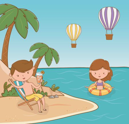 young couple on the beach scene vector illustration design