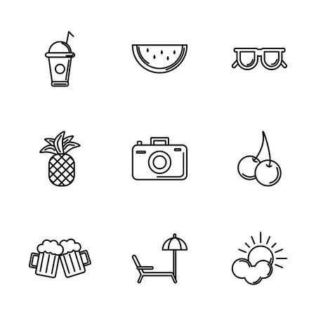 tourism travel time summer icons linear set