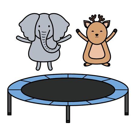 cute elephant and reindeer in elastic trampoline Foto de archivo - 133250818