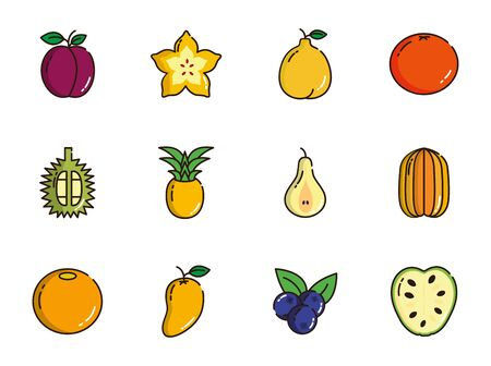fresh nutrition harvest fruits icons set 일러스트