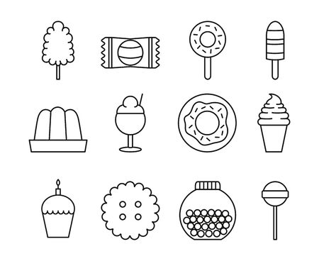 sweet dessert candy and pastry icons set line