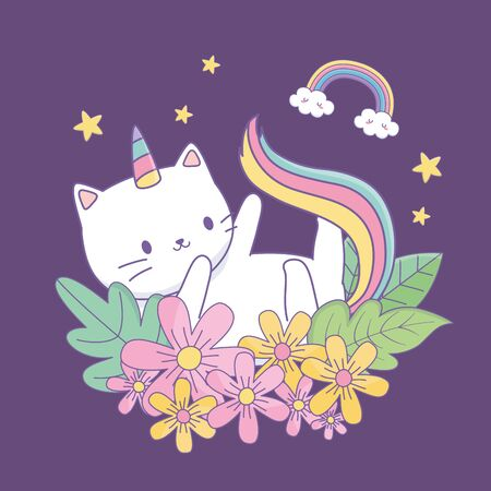 cute cat unicorn with floral decoration at night Ilustrace