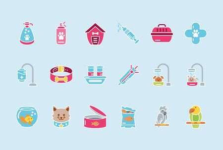 pet shop grooming food vet care icons set